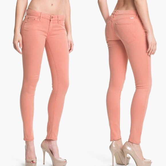 Mother- The looker peach knockout skinny jeans